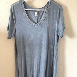 Grey/Blue Cable and Gauge Flowy Tunic